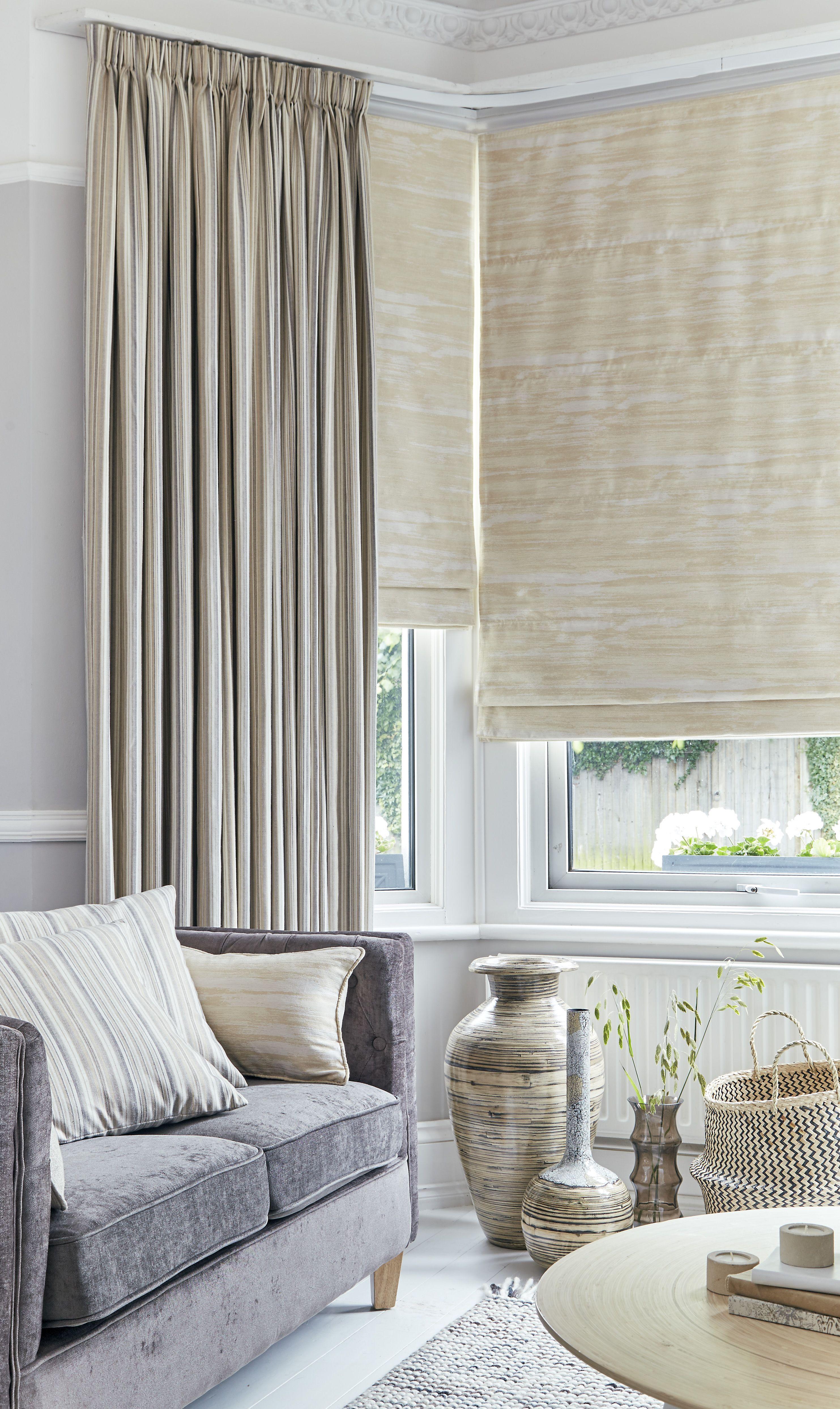 Roman Blinds Made To Measure Blackout Roman Blinds Yorkshire Cream Roman Blinds Neutral Living Room Bay Window Living Room #roman #blinds #living #room