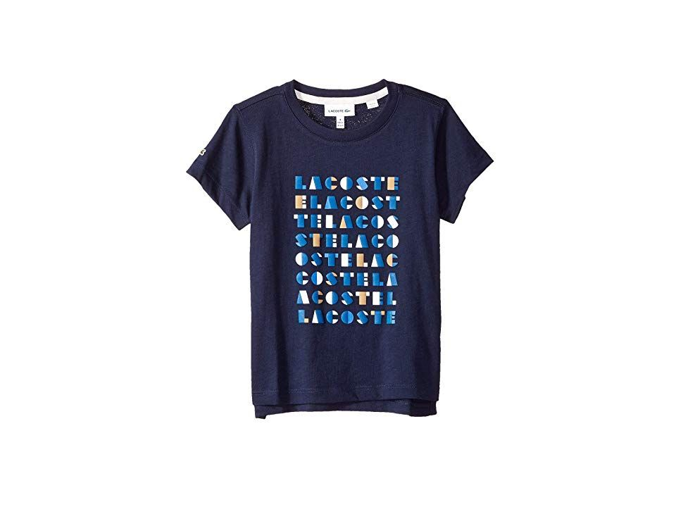 8a909ec52 Lacoste Kids Short Sleeve Lacoste Wording Print Tee Shirt (Toddler Little  Kids Big Kids) (Navy Blue) Boy s T Shirt. Bring city flair to his classic  style in ...