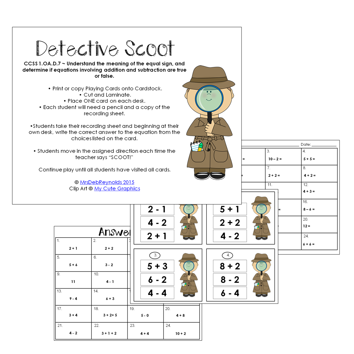 Detective Scoot Freebie Ccss 1 Oa D 7 Oh My Little