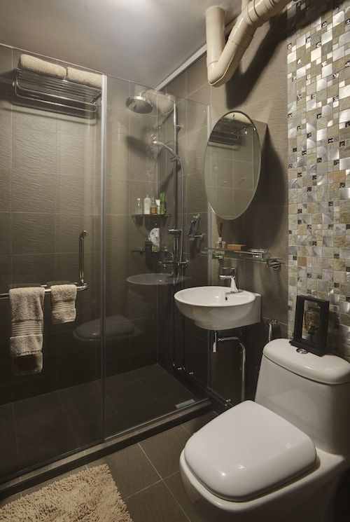 Sand Colour Scheme With Mosaic Tiled Wall With Images Bathroom