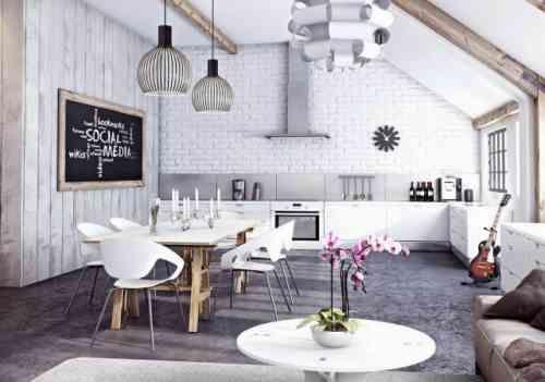 Papier peint brique pour un salon de style industriel Scandinavian