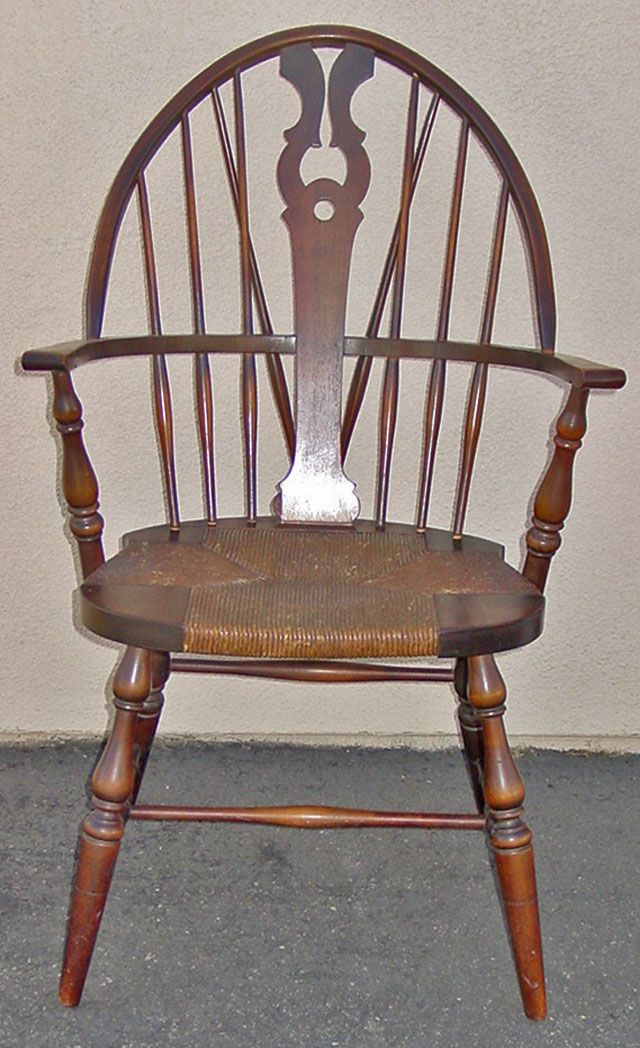 Antique S Karpen Brothers Rush Seat Windsor Chair