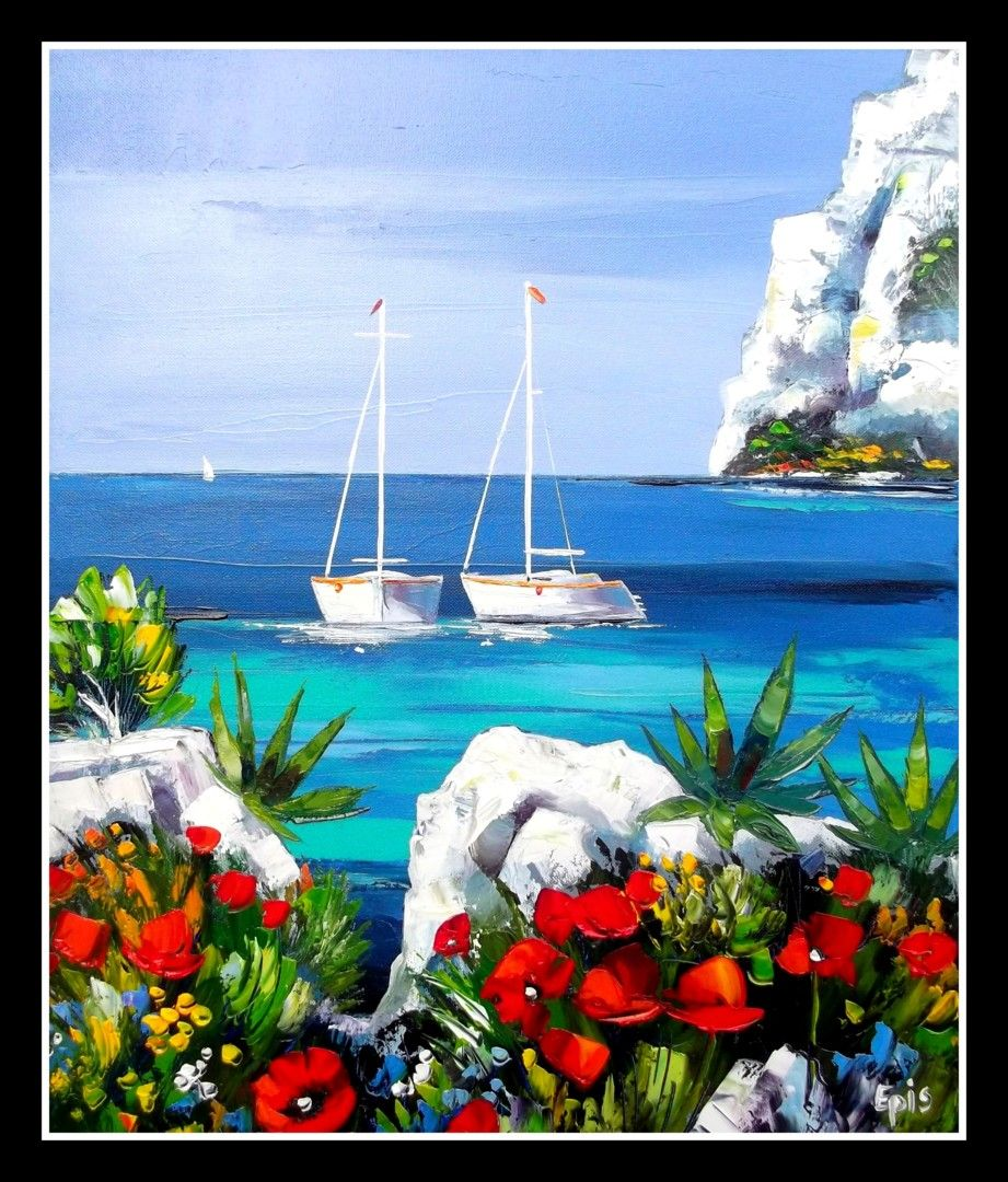 Painting by Stéphane EPIS (France) via #Artmajeur.  #Painting #Bateaux #Mer #Paysage #EpisStéphane