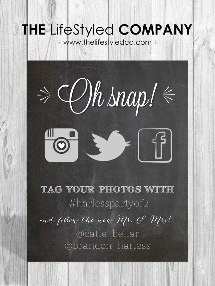 Printable Social Media Wedding Sign by LCODesignandPaperie