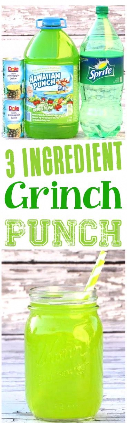 Easy Party Punch Recipes for Kids! This festive 3 Ingredient sparkling Green Grinch Punch