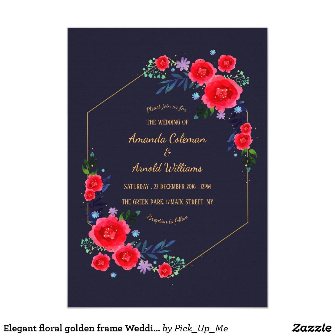 Wedding decorations for reception december 2018 Elegant floral golden frame Wedding invitation  Other Wedding