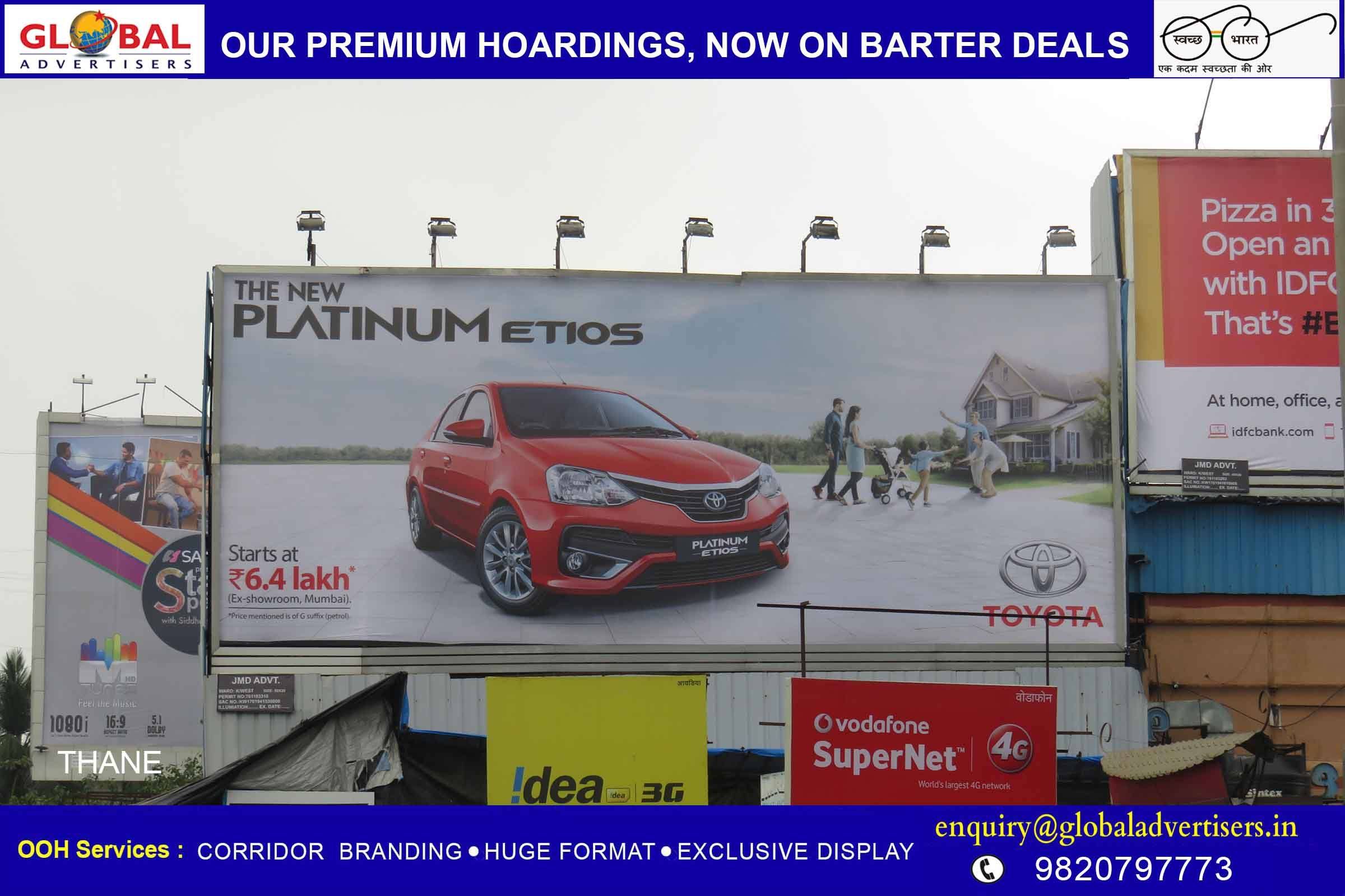 Global Advertisers Puts Up Hoardings For Luxury Car Brand Toyota