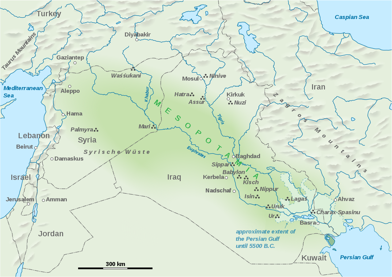 Map Showing The Extent Of Mesopotamia Shown Are