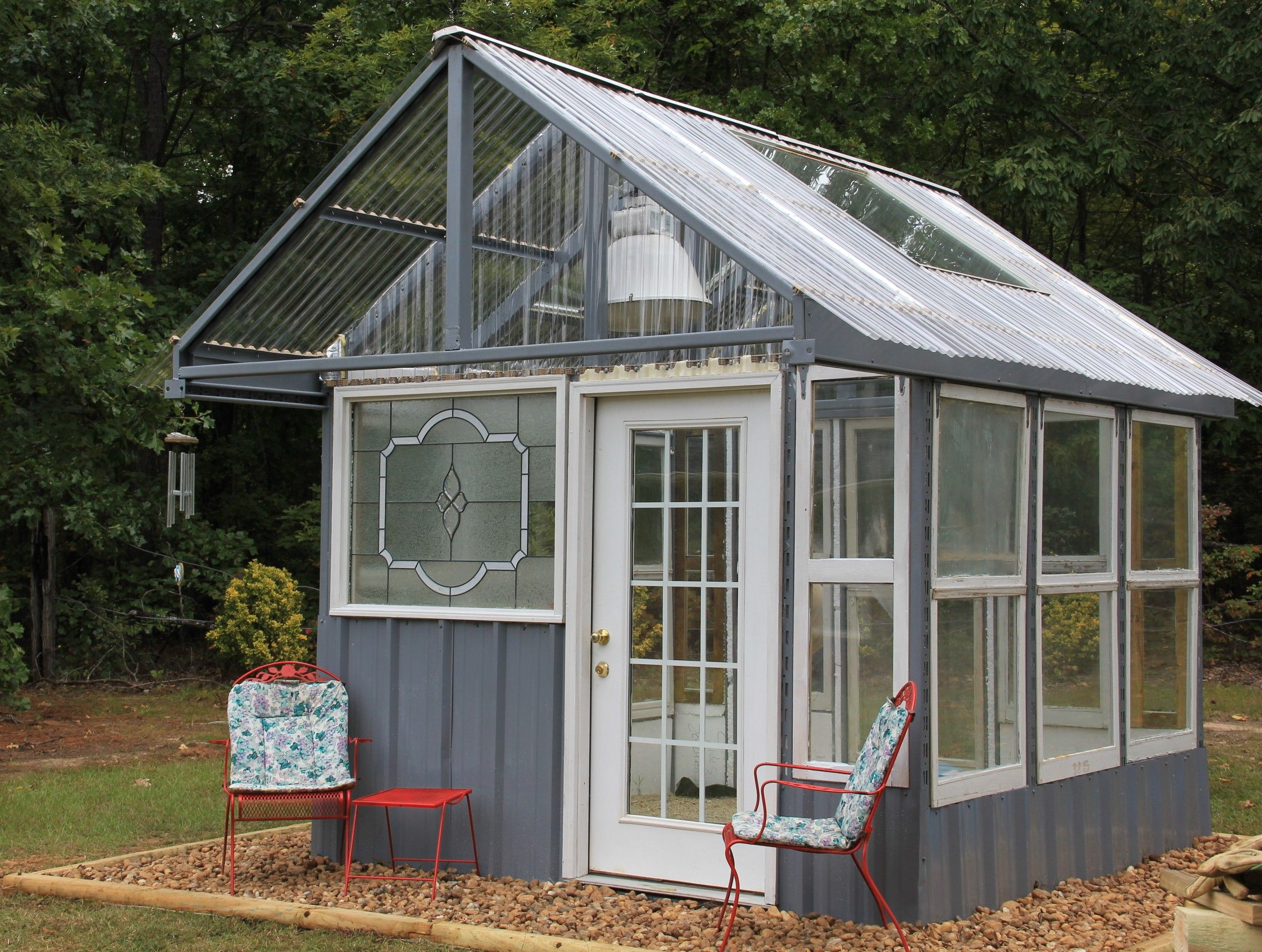 Greenhouse Made From Old Windows Complete With Water And