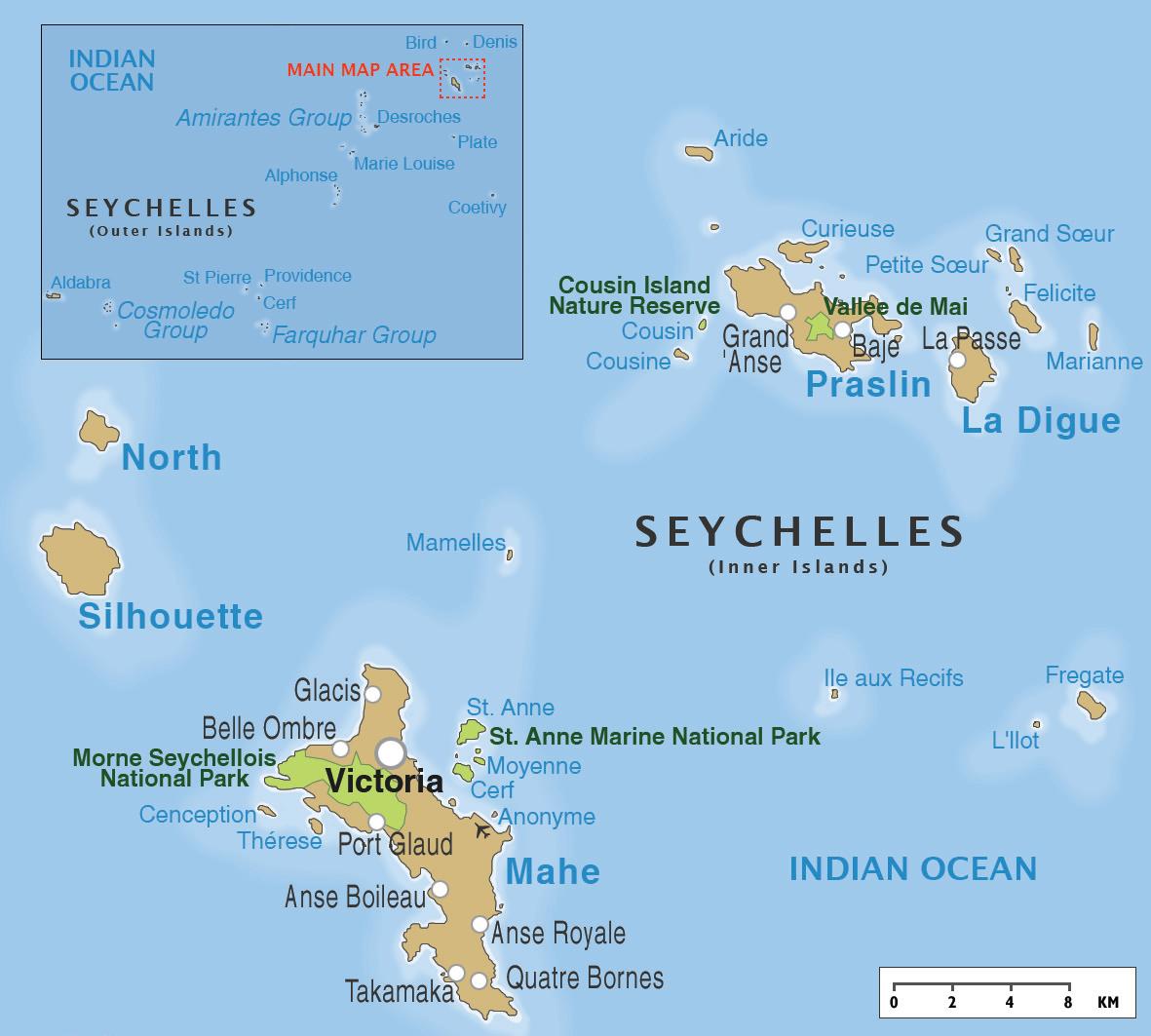 Map of Seychelles Islands Seychelles Pinterest Seychelles