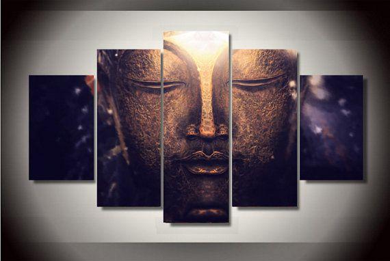 5 Piece Multi Panel Zen Buddha Head Portrait Wall Canvas Art High Quality Large Room Decoration Wall Pa Portrait Wall Modern Buddha Painting Unframed Wall Art