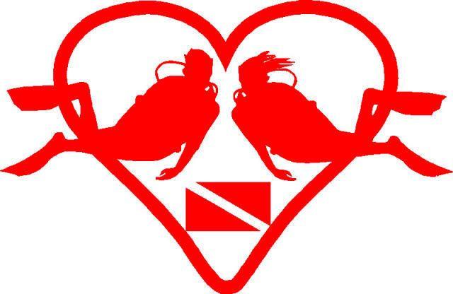 Scuba Dive Loving Couple Sticker/Decal Flag Heart   Scuba diving, Diving, Scuba tattoo