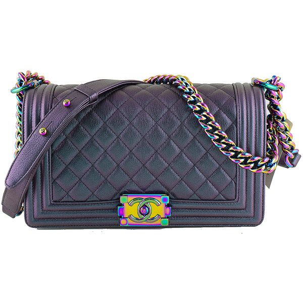 ff82e79be953 Pre-Owned NWT 16C Chanel Iridescent Purple Le Boy Classic Flap, Medium...  ($5,599) ❤ liked on Polyvore featuring bags, handbags and iridescent purple