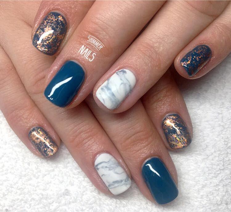 teal rose gold marble nailart