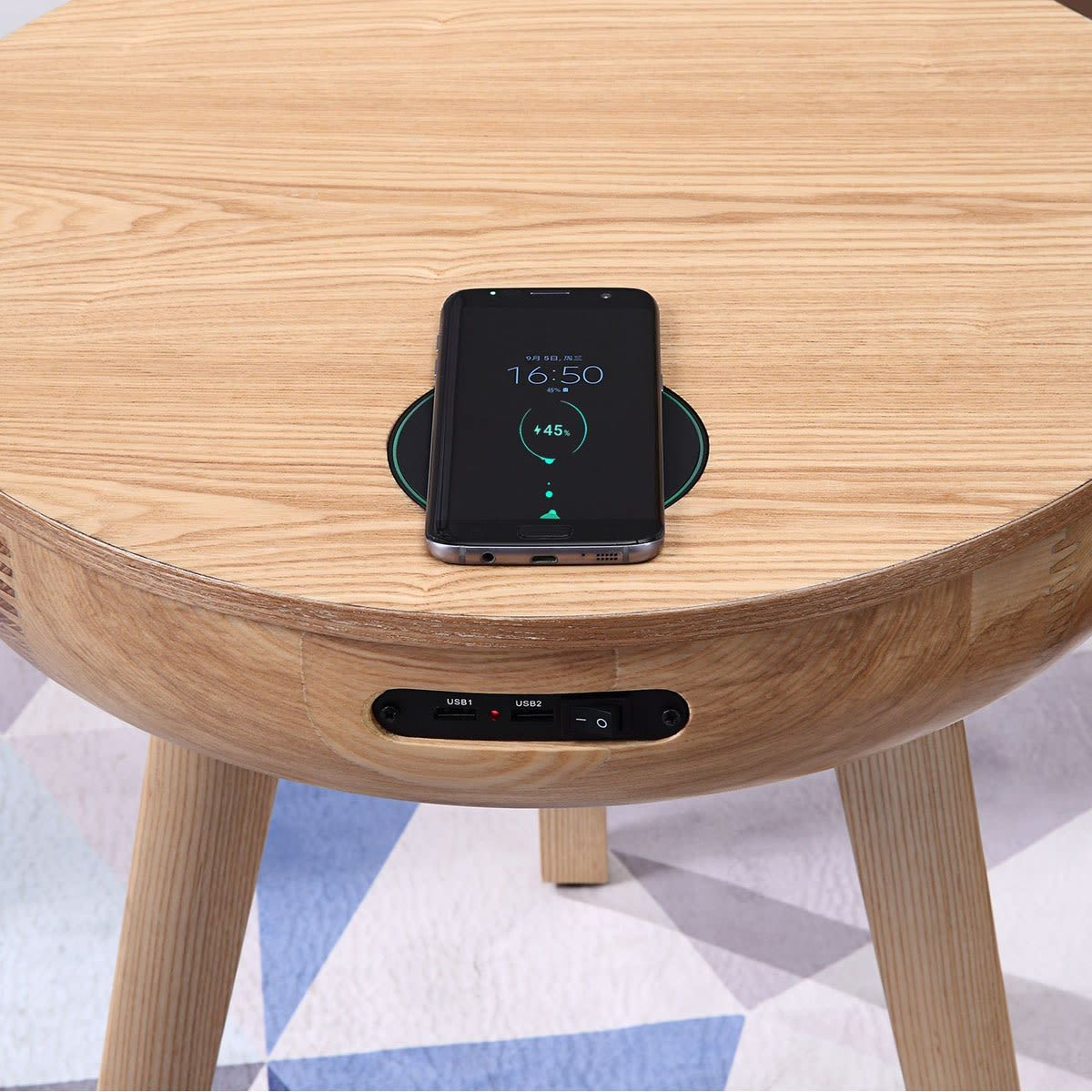 San Francisco Round Lamp Table With Qi Wireless Charger Usb Ports