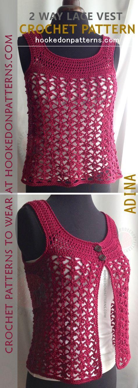 Lace Vest Crochet Pattern Adina 2 Way Knitting Pinterest