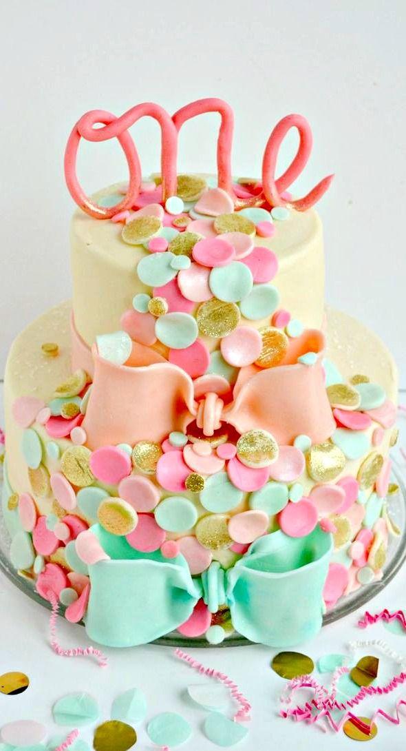Super Confetti Themed First Birthday Cake Birthday Cake Kids Girls Funny Birthday Cards Online Alyptdamsfinfo