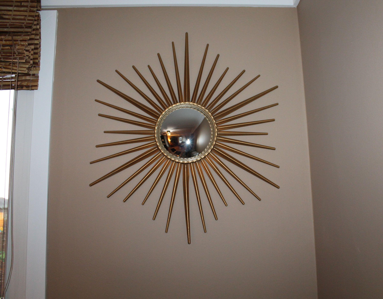 Mid Century Modern Starburst Mirror Vintage Gold Metal Starburst