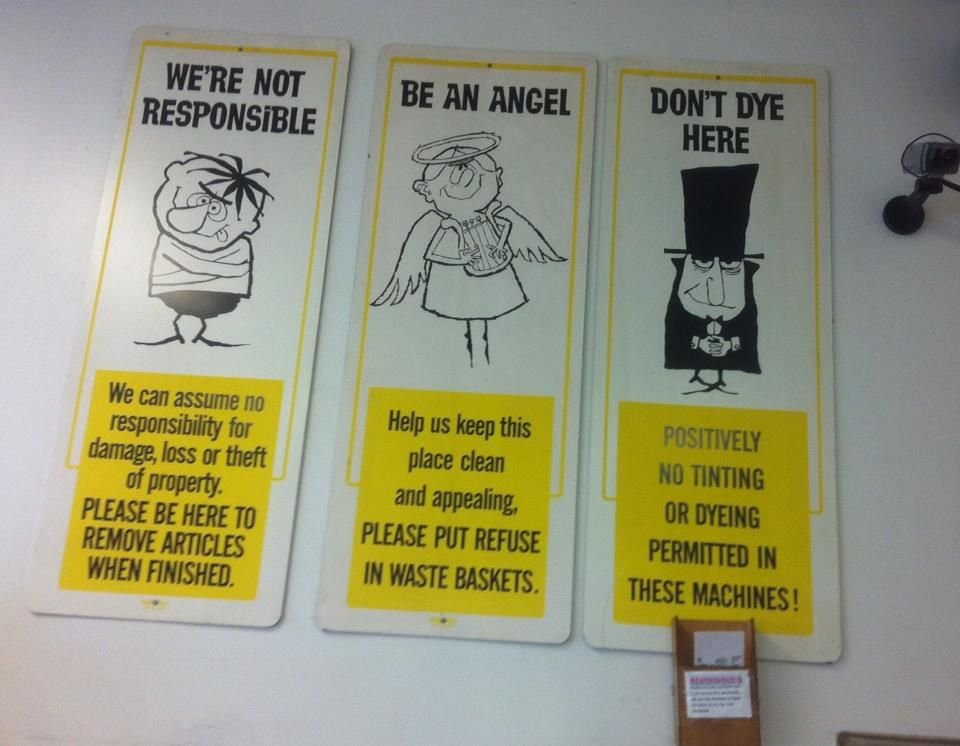 Vintage Signs Hanging In My Local Laundromat Renssaeler Ny 1950 S 1960 S I Adore These And Want Them In My Home Laundry Signs Laundromat Waste Baskets
