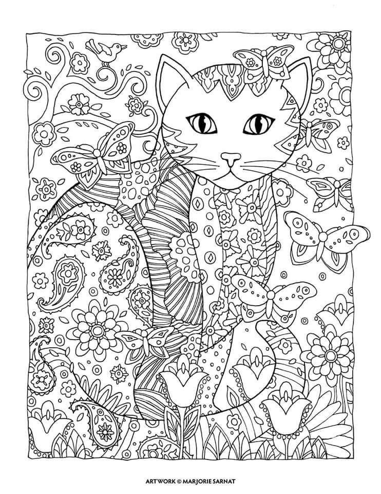 Pin de chen hao en 填色馆-猫 | Pinterest | Colorear, Mandalas y Gato