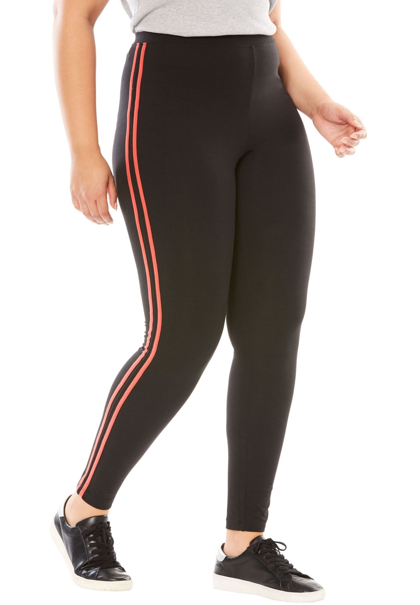 6ba978f01f815 Casual Stretch Knit Side Stripe Leggings - Women's Plus Size Clothing