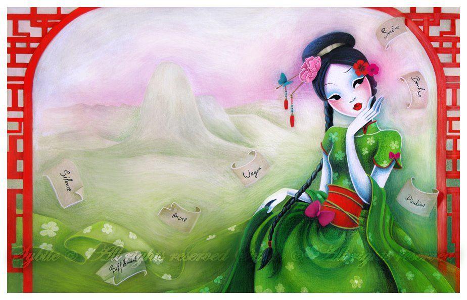 Pintora E Ilustradora De Unos 34 Anos Que Siguio Sus Estudios Sobre El Dibujo Y La Pintura En Su Pais De O Produccion Artistica Portafolio De Arte Arte Geisha