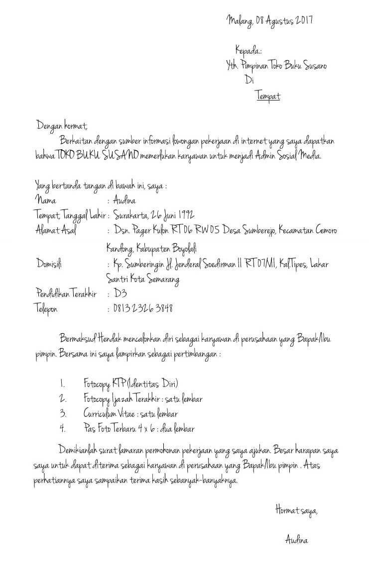 Contoh Surat Lamaran Kerja Sesuai Kaidah Bahasa Indonesia