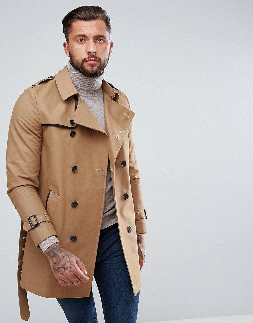 ASOS Shower Resistant Double Breasted Trench In Tobacco - Brown