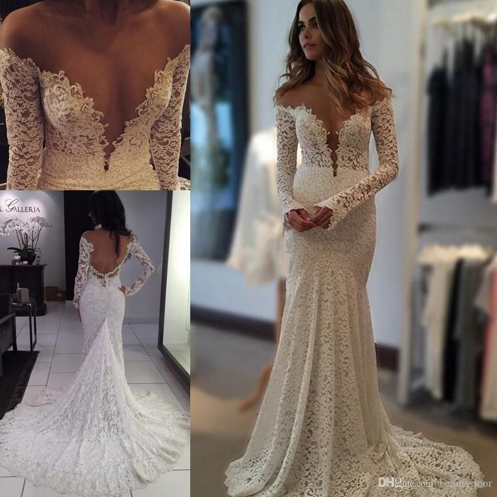 2016 berta vintage lace wedding dresses mermaid sheer long for Vintage backless wedding dresses