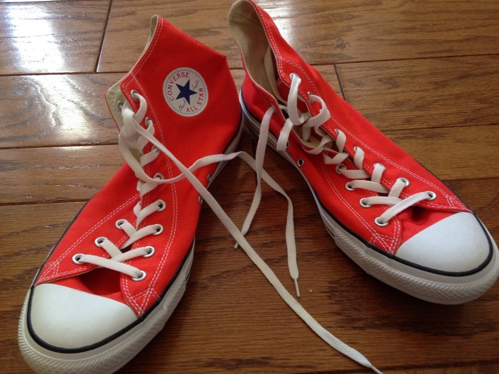 e74fe435c160 Mens Size 13 CONVERSE All Star Chucks Chuck Taylor DEEP ORANGE High Tops…