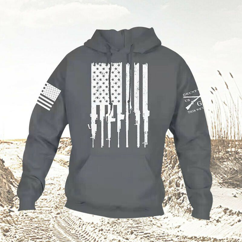 Men Patriot Sweatshirt Sweater Hoodie Grunt Style Ammo Flag Hoodies Hip-Hop