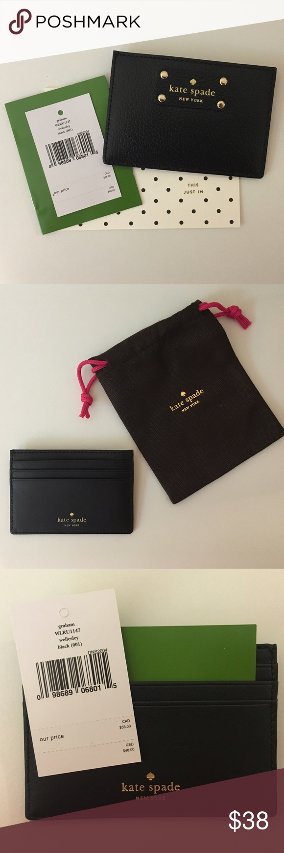 Kate Spade Card Holder - Black Perfect for the woman on the go - Happy Shopping! kate spade Accessories Key & Card Holders