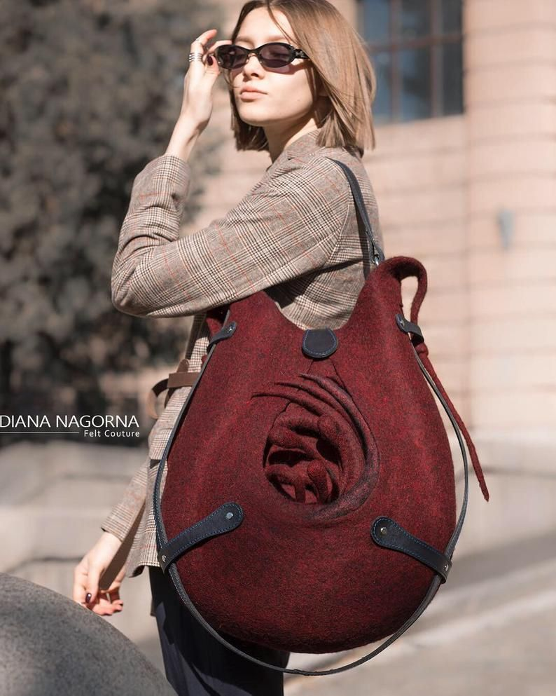 Photo of Marsala felt  bag , Felted Wool Tote Bag, Felted Shoulder Tote Bag,  Wool and Leather Bag, Handbag