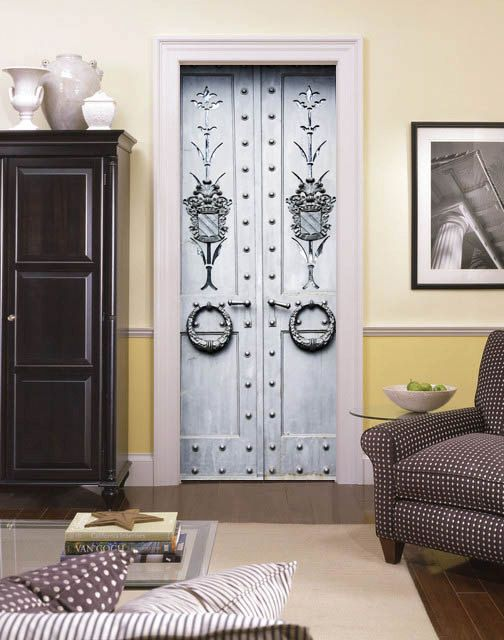 Outside of my apartment entry door Door Sticker IRON DOOR Self-Adhesive Vinyl Decal by & Outside of my apartment entry door Door Sticker IRON DOOR Self ...