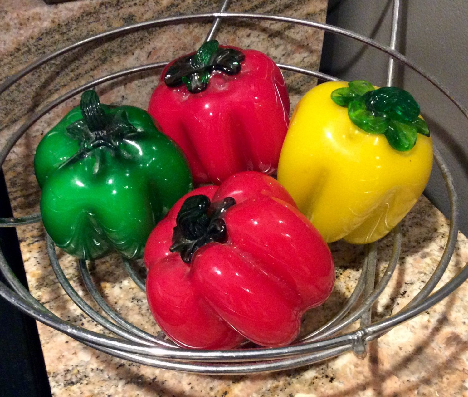 7 Vintage Blown Glass Vegetables Fruit Decor Retro Fruit Etsy Stuffed Peppers Glass Blowing Stuffed Bell Peppers