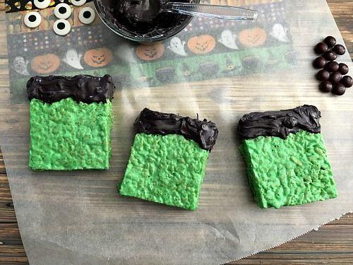 cute frankenstein rice krispie treats
