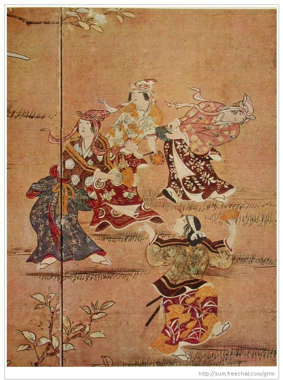 """카노 나가노부, """"벚꽃놀이 병풍"""" – 벚꽃이 활짝 핀 날 네 명의 무희가 악기연주에 맞춰 춤을 춘다. 귀족계급의 흥을 돋우기 위해 추는 춤이지만 추는 이나 바라보는 이나 모두 신명이난다."""