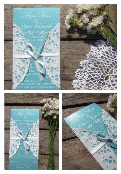 Partecipazioni con pizzo in carta color Tiffany