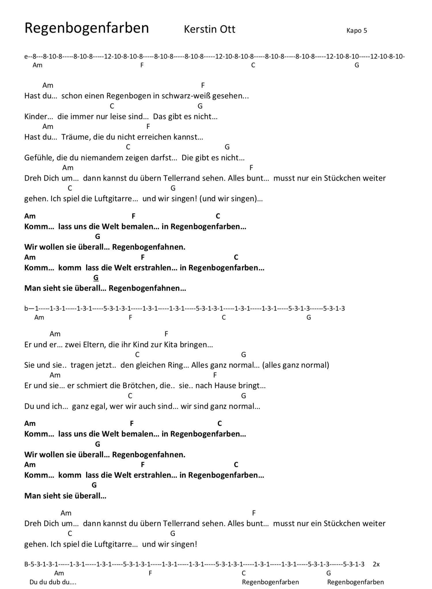 Regenbogenfarben Kerstin Ott- Songtext und Akkorde