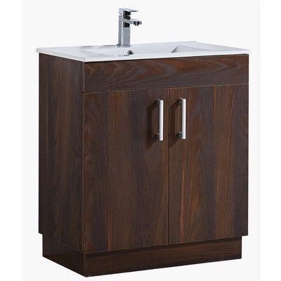"InFurniture 35"" Bathroom Vanity with Ceramic Sink in Brown Elm Wood Texture Finish"