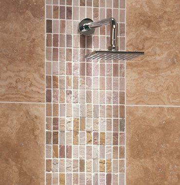 find this pin and more on tile travertine_shower_tile_behind shower head