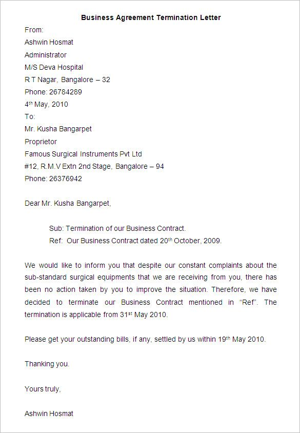 Business Contract Cancellation Letter Termination Template Sample
