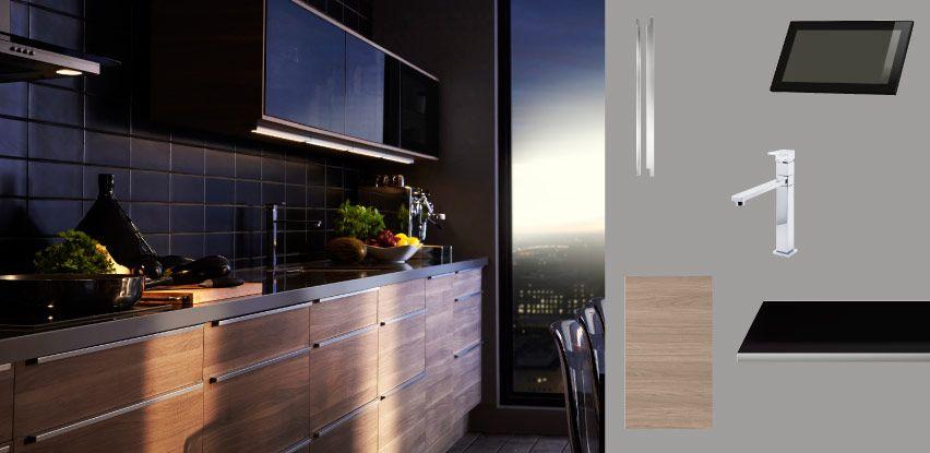 faktum cuisine avec sofielund portes tiroirs motif noyer gris clair et rubrik portes vitr es. Black Bedroom Furniture Sets. Home Design Ideas