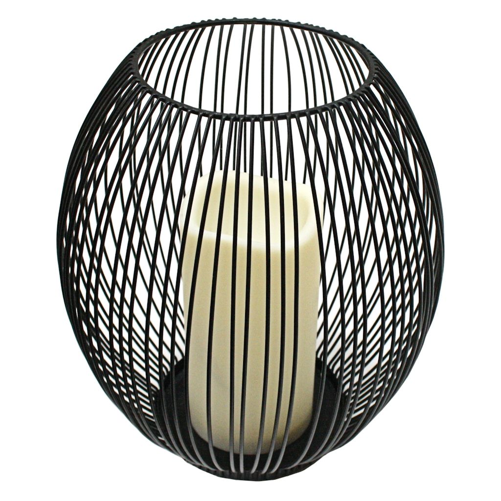Gerson 37785 - 8 x 9 Black Wire Lantern with Melted Edge Battery ...