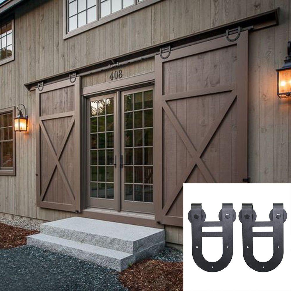 4 24ft Sliding Barn Double Door Hardware Track Kit Hanger Closet Horseshoe Rail Exterior Barn Doors Exterior Sliding Barn Doors Garage Door Design