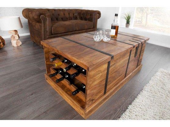 Table Basse En Bois Massif Palissandre Avec Rangement De Bouteille A Vin Domus Table Basse Bois Massif Table Basse Bois Table Basse