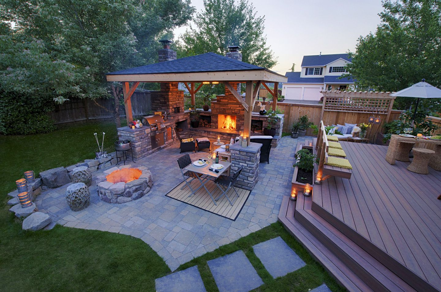 Backyard Deck Ideas (With images) | Patio design, Covered ... on Back Garden Decking Ideas id=74290