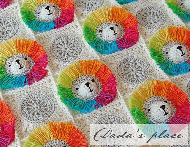 Dada\'s place: Rainbow Lion Baby Blanket | Crochet | Pinterest ...