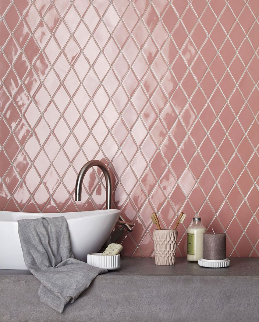 Love These Diamond Shaped Pink Ceramic Decorative Tiles From Domus Tiles Source Domus Tiles Trend Alert D Decorative Wall Tiles Bold Tile Bathroom Decor