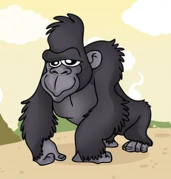 Gorilla Chest Deadlift Cartoon Drawings Monkey Art Animal Art